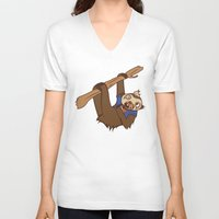 sloth V-neck T-shirts featuring Sloth by Hoborobo