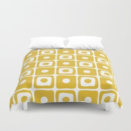 Mid Century Square Dot Pattern Mustard Yellow Duvet Cover