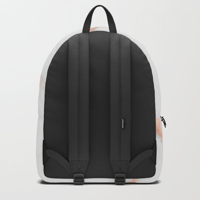Rose Quartz Foil on Real White Marble Backpack