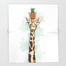 Intelectual Giraffe with a pineapple on head Throw Blanket