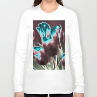 popart Long Sleeve T-shirts featuring TULIPS - BROWN-BLUE - Popart by CAPTAINSILVA