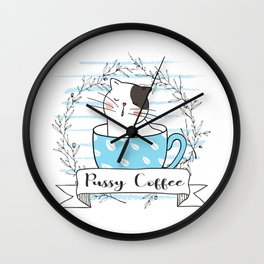 Pussy Cat in a Cup Wall Clock