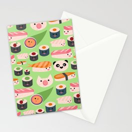 Kawaii sushi green Stationery Cards