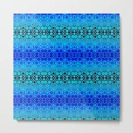 Retro India Lounge Pattern (tropical blue) Metal Print