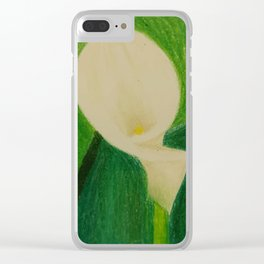 Cala Lily On Abstract Background Clear iPhone Case