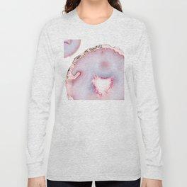 Pink Rose Gold Blush Agate Marble Gemstone Long Sleeve T-shirt