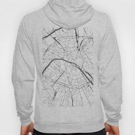 Paris France Minimal Street Map - Gray and White Hoody
