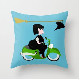 Witch Riding a Green Moped Throw Pillow