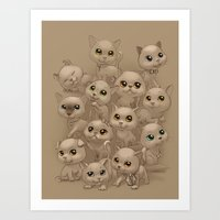 kittens Art Prints featuring Kittens by Antracit
