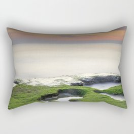 Green, white a red coast Rectangular Pillow