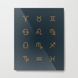 Zodiac Symbols - Navy Metal Print