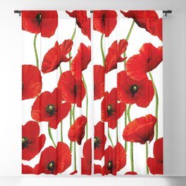 Poppies Flowers red field white background pattern Blackout Curtain