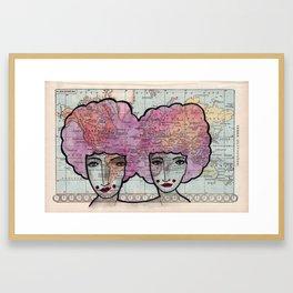 Jumelles Roses Framed Art Print