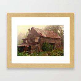 Misty Barn Framed Art Print