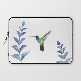 Hummingbird with tropical leaves watercolor design Laptop Sleeve