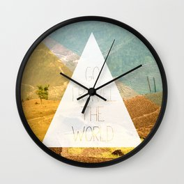 Go travel the world - rice field and geometric typography art Wall Clock