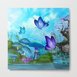 Mystic Whimsey Butterfly Pond Fantasy Metal Print