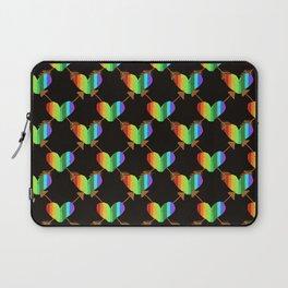 Rainbow Hearts with crossed arrows on Black Laptop Sleeve