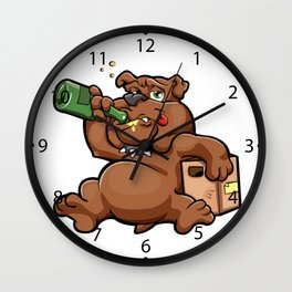 drunk dog with alcohol bottle Wall Clock