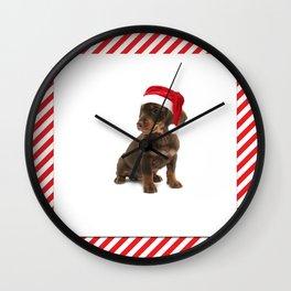 Daschshund Puppy Wearing a Santa Hat Wall Clock