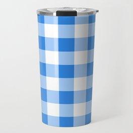 Blue & White Gingham Travel Mug