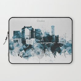 Blue Watercolor Osaka skyline design Laptop Sleeve