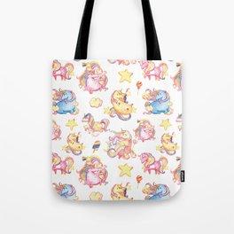 Cute girly watercolor magical rainbow colors unicorn illustration Tote Bag