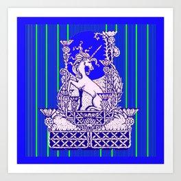 Blue Unicorn Thistle Abstract Design Art Print