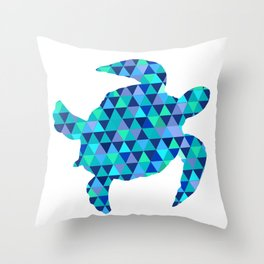 Mosaic Turquoise Sea Turtle Throw Pillow
