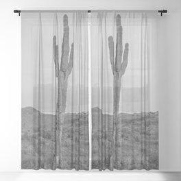 Saguaro B&W // Desert Landscape Photography Arizona Cactus Black and White Vintage Southwestern Vibe Sheer Curtain