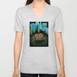 Owl Pals In The Forest Unisex V-Neck