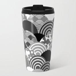 Nature background with japanese sakura flower, Cherry, wave circle Black gray white colors Travel Mug