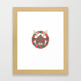 Cute reindeer and goodies in christmas stocking Framed Art Print