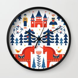 Scandivian Fairytale - Traditional Colors Wall Clock