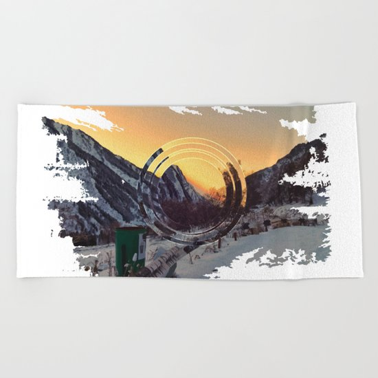 Mountains sunset Beach Towel