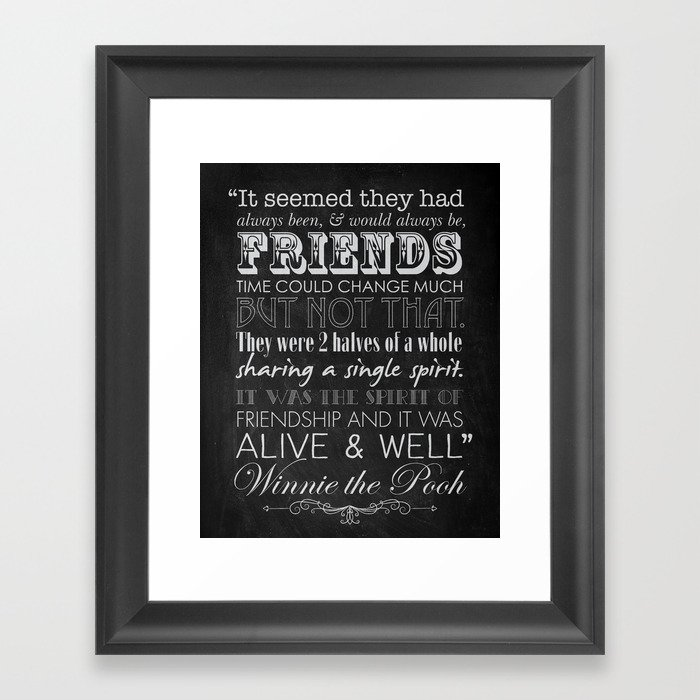 Winnie The Pooh Friendship Quote Chalkboard Style Framed Art Print