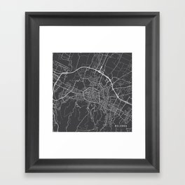 Bologna Map, Italy - Gray Framed Art Print