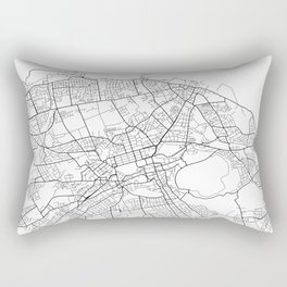 Edinburgh Map, Scotland - Black and White Rectangular Pillow