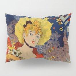 Bagn Res De Luchon F Tes Des Fleurs 1890 By Jules Cheret | Reproduction Art Nouveau Pillow Sham