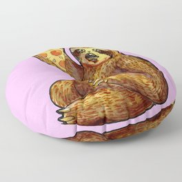 sloth eating pizza Floor Pillow