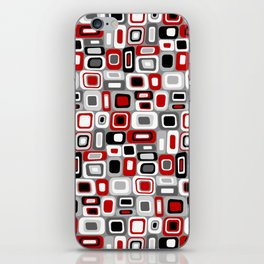 Mid Century Modern Squares and Rectangles // Red, Gray Black, White iPhone Skin