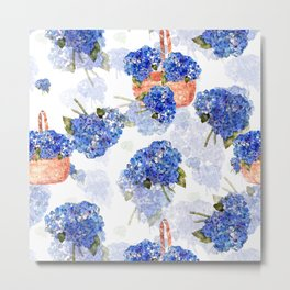 Cape Cod Hydrangeas and Baskets Metal Print