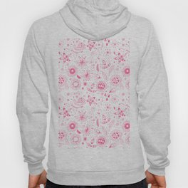 Pink doodle flowers pattern on white Hoody