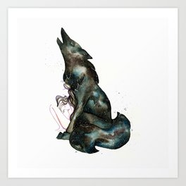 INTO THE NIGHT I - Girl and Wolf Art Print