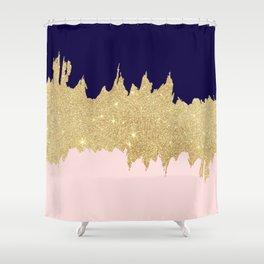 Modern navy blue blush pink gold glitter brushstrokes Shower Curtain