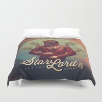 star lord Duvet Covers featuring Star Lord and the Raptor 4 by Brandi Kenney