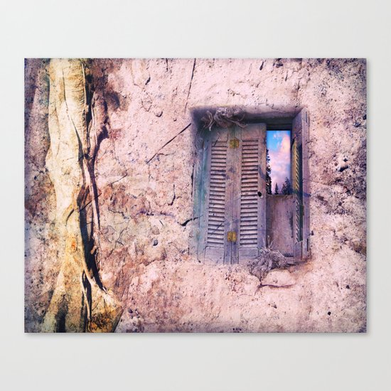 SOUL WINDOW - conceptual composing with old wall and open window Canvas Print