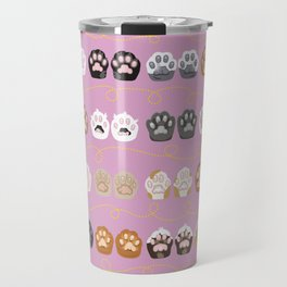Toe Beans on Pink / Cat Paws Travel Mug