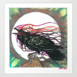 Crow in Watercolor Art Print