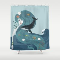 the life aquatic Shower Curtains featuring Aquatic Life of a Seaflower by Alexandra Gallant